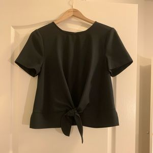 Black Kensie Front Tie Top